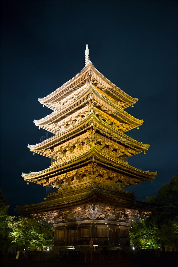 Toji Pagoda Temple, Japan Travel. Toji pagoda and temple in Kyoto, Japan. Asia is a popular tourist travel destination for people on vacation or holiday stock images