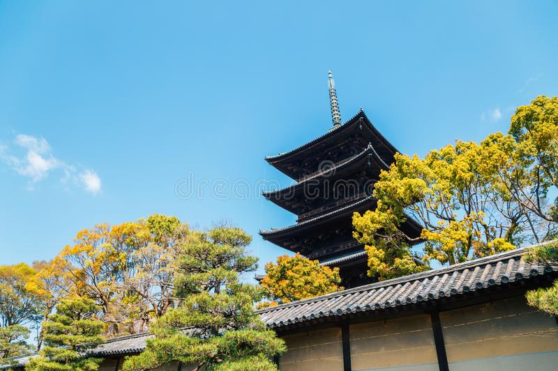 Toji temple traditional pagoda in Kyoto, Japan royalty free stock images