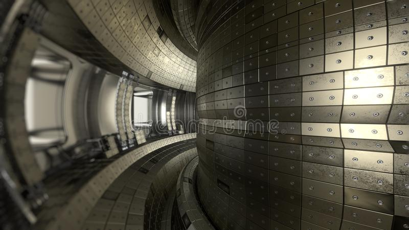 Tokamak αντιδραστήρων τήξης Αίθουσα αντίδρασης Δύναμη τήξης τρισδιάστατο illus στοκ εικόνα