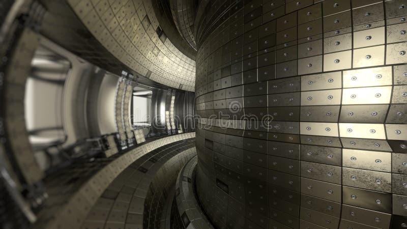 Tokamak för fusionreaktor Reaktionskammare Fusionmakt illus 3d royaltyfri illustrationer