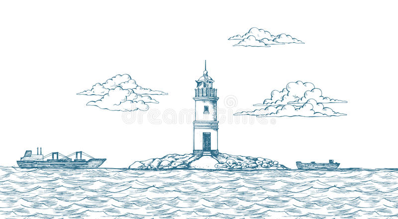 Tokarevskiy latarnia morska w Vladivostok ilustracja wektor