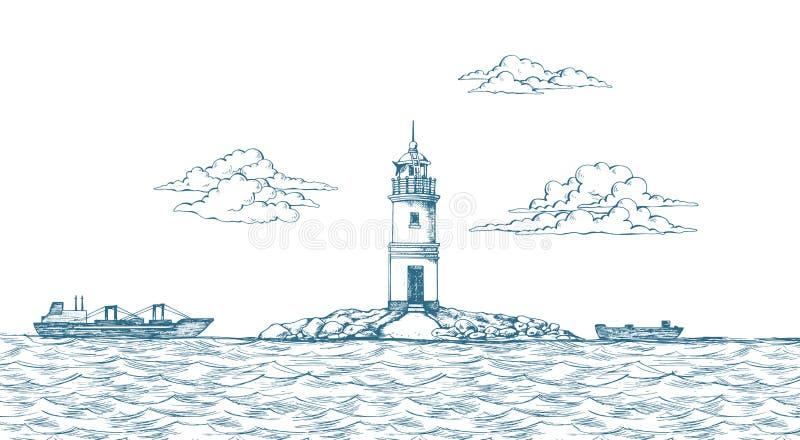 Tokarevskiy-Leuchtturm in Wladiwostok stock abbildung