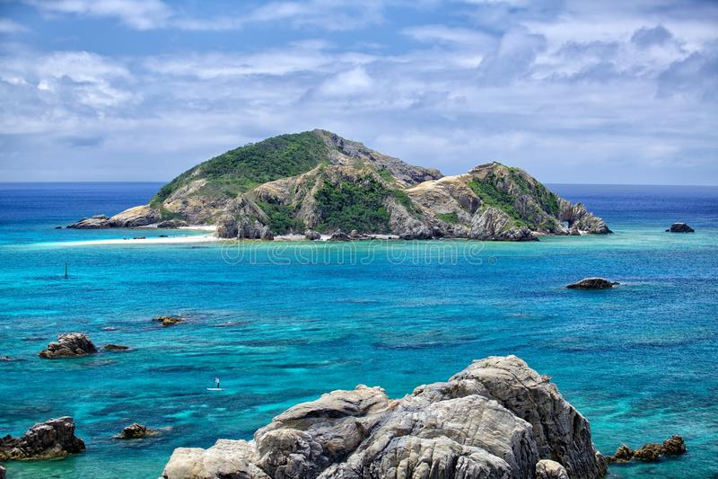 Tokashiki island. Rock cliffs at Tokashiki island next to Okinawa royalty free stock photos