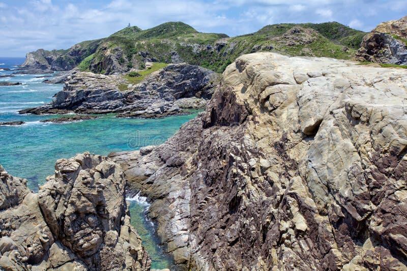 Tokashiki island. Rock cliffs at Tokashiki island next to Okinawa stock photography