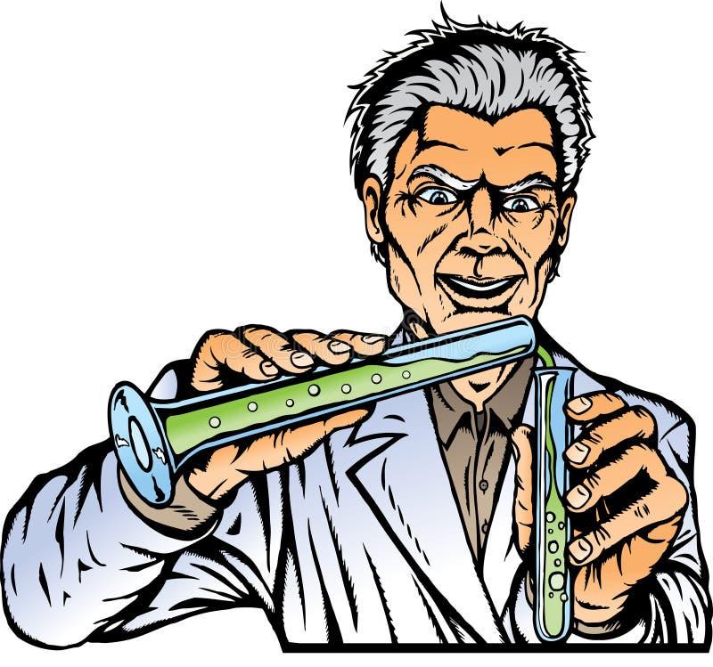 tokig forskare stock illustrationer