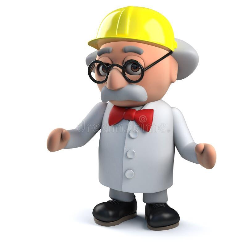Tokig forskare som bär en hård hatt i 3d för att skydda hans vidsträckta hjärna stock illustrationer