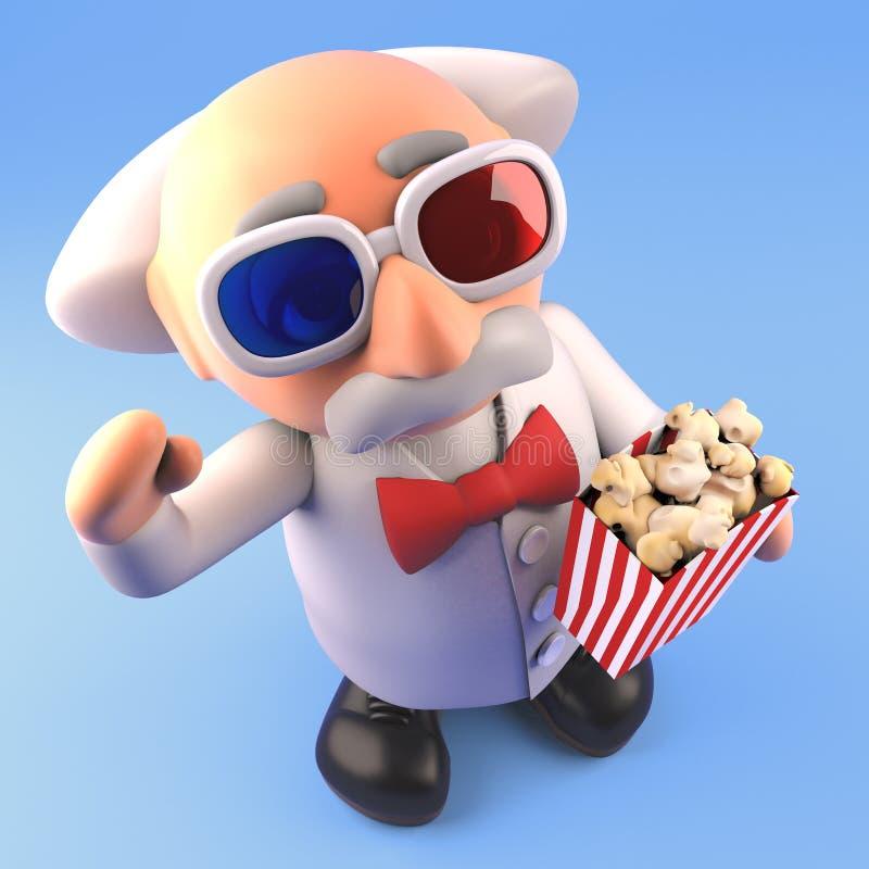 Tokig forskareprofessor för tecknad film på filmerna i exponeringsglas 3d och ätapopcorn, illustration 3d stock illustrationer