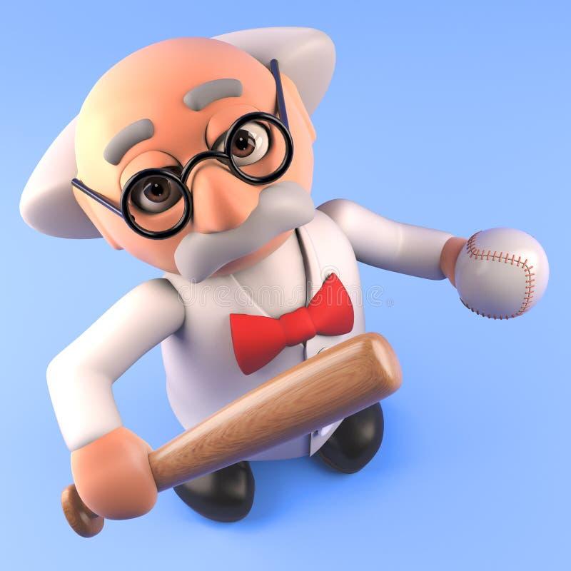 Tokig forskareprofessor för tecknad film som rymmer baseballslagträet och bollen, illustration 3d vektor illustrationer