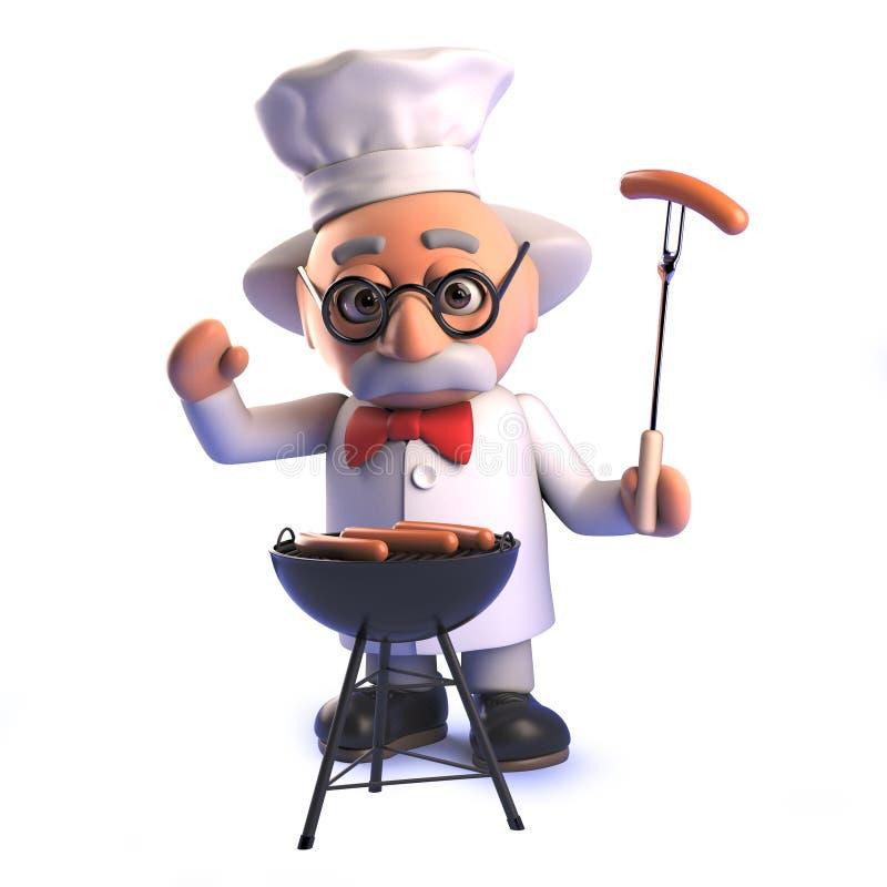 Tokig forskareprofessor som lagar mat en bbq i 3d stock illustrationer