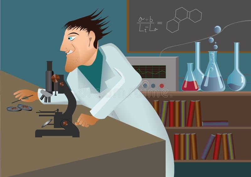 tokig mikroskopforskare stock illustrationer