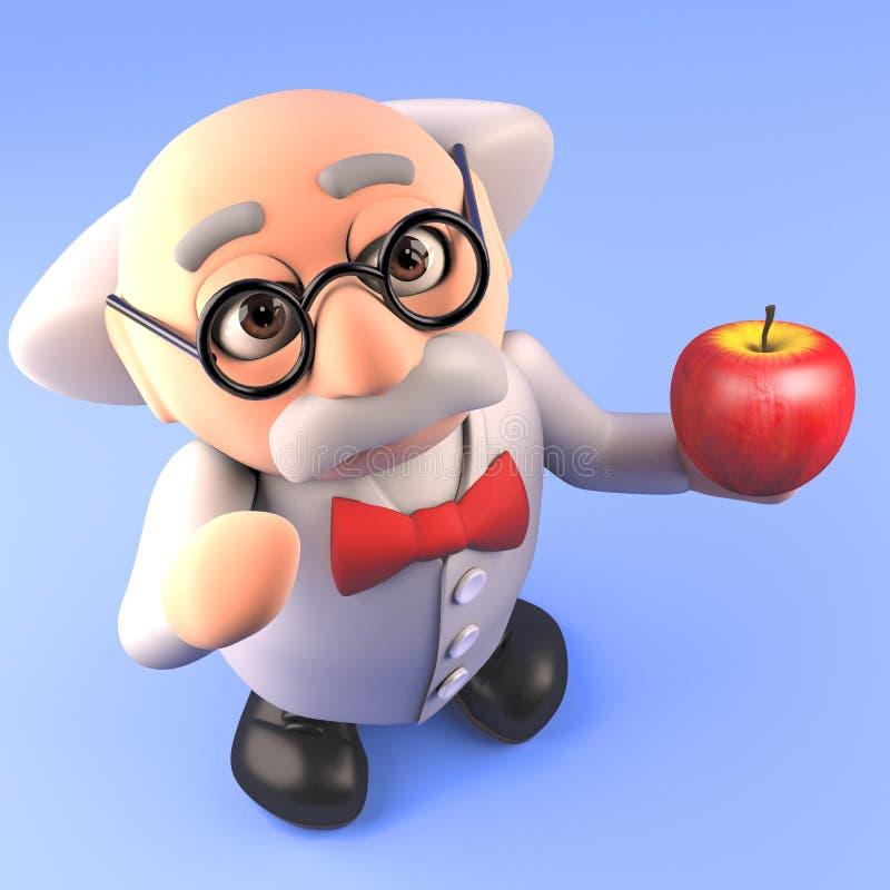 Tokig professorforskare för tecknad film som rymmer ett organiskt äpple, illustration 3d vektor illustrationer