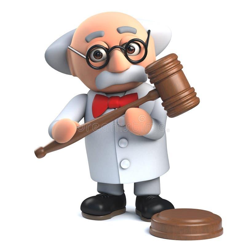 Tokig professorforskare i 3d som rymmer en auktionsf?rr?ttareauktionsklubba royaltyfri illustrationer