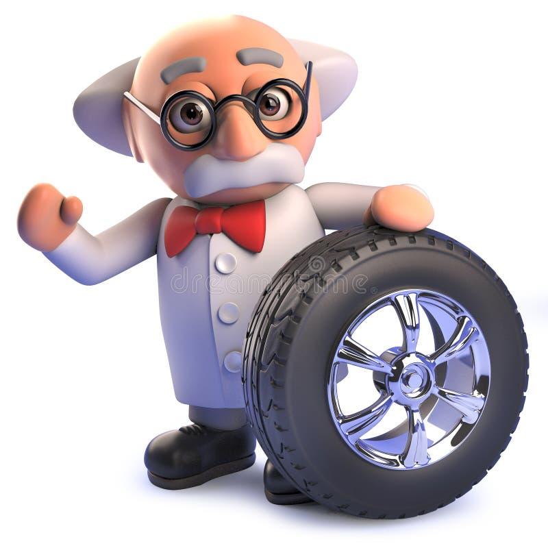 tokigt forskaretecken för tecknad film 3d med ett bilhjul med däck- och kromkanten stock illustrationer