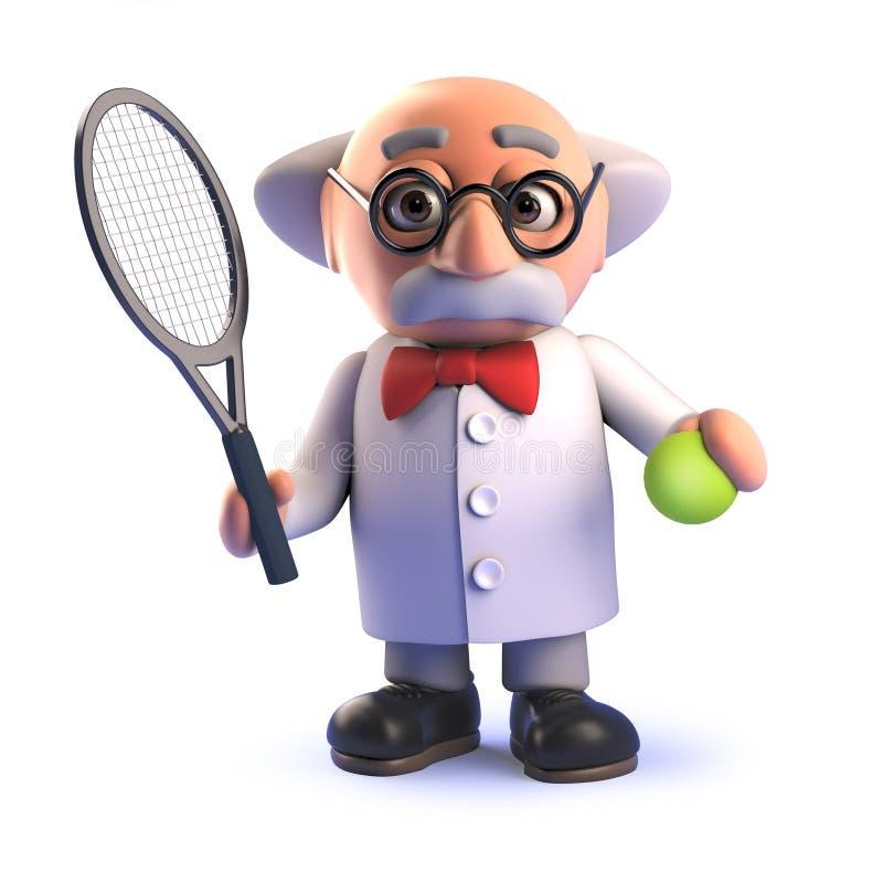 Tokigt forskaretecken för tecknad film som 3d spelar tennis vektor illustrationer