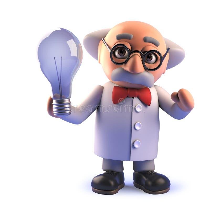 Tokigt forskaretecken f?r tecknad film som rymmer en lightbulb i 3d royaltyfri illustrationer