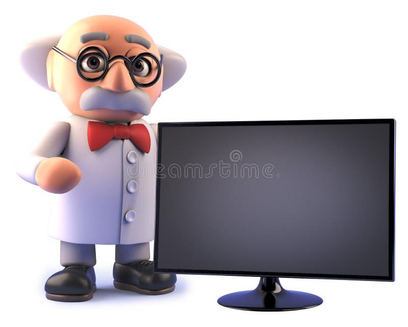 Tokigt forskaretecken med skärm för bildskärm för flatscreenhdtelevision royaltyfri illustrationer