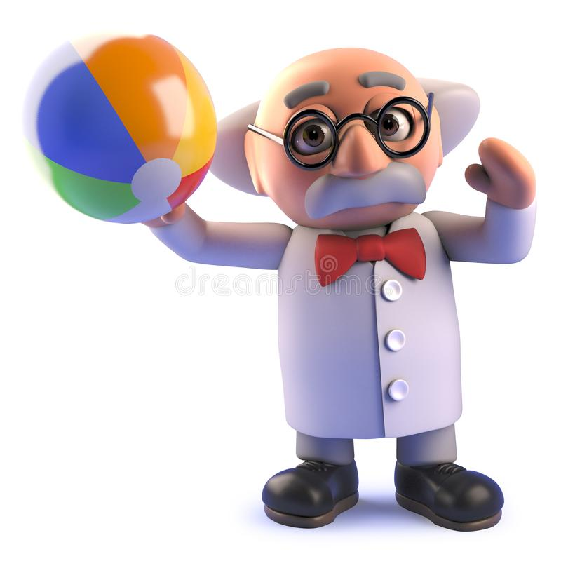 Tokigt forskaretecknad filmtecken i 3d som spelar med en strandboll på ferie vektor illustrationer