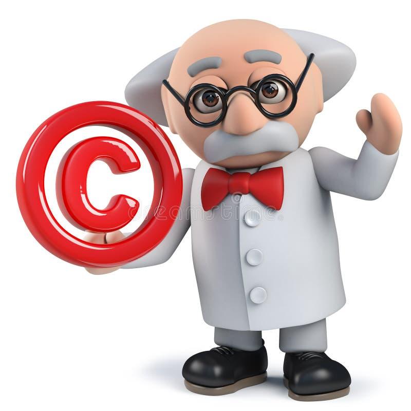 tokigt tecken för forskare som 3d rymmer ett copyright-symbol arkivbilder
