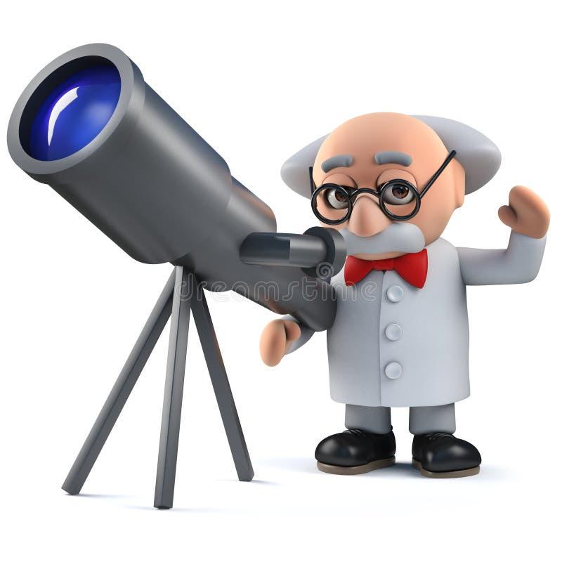 tokigt tecken för forskare som 3d ser stjärnorna med hans teleskop vektor illustrationer