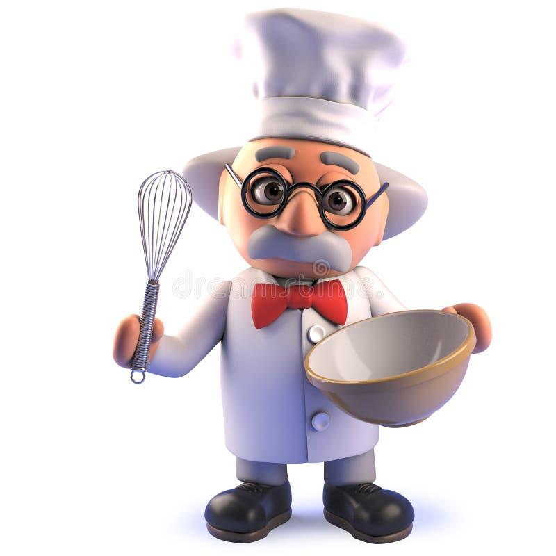 Tokigt tecknad filmforskaretecken i 3d som bär en kockhatt och viftar i en plastbunke royaltyfri illustrationer