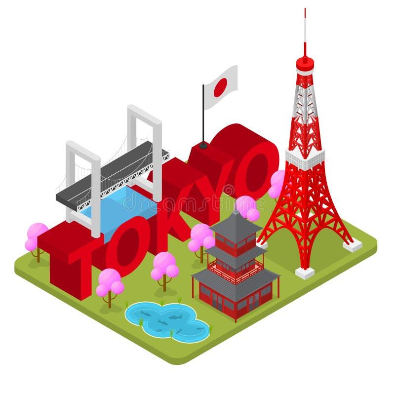 Tokio City Famous Landmark della vista isometrica capitale del Giappone Vettore royalty illustrazione gratis