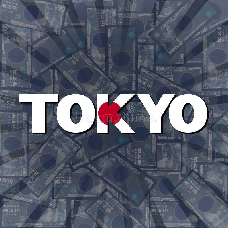 Tokio flaga tekst na jenu wybuchu ilustraci ilustracja wektor