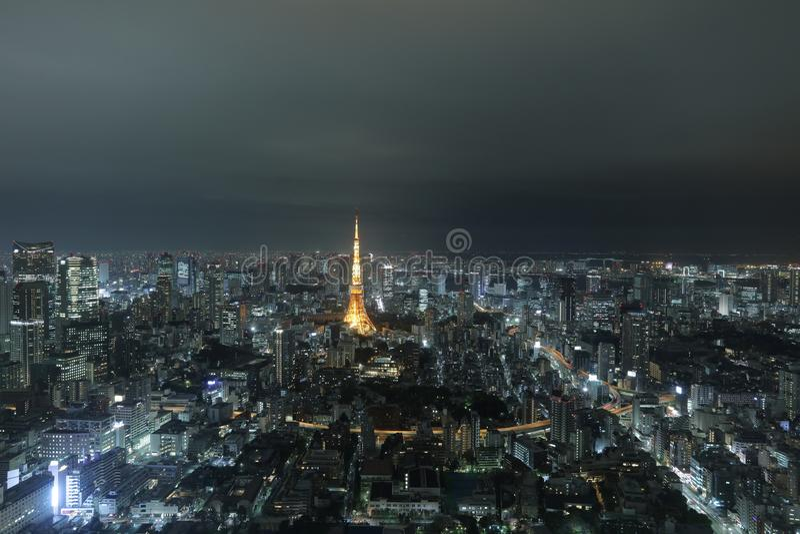 Tokio góruje jak widzieć z linią horyzontu od metropolita obrazy royalty free