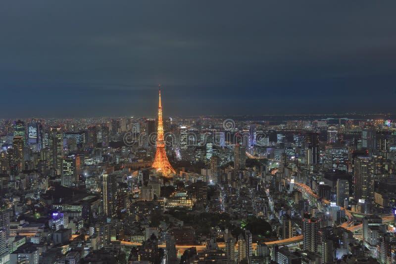 Tokio góruje jak widzieć z linią horyzontu od metropolita obrazy stock
