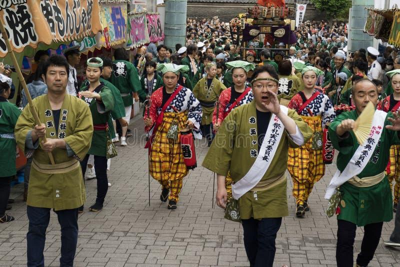 Tokio, Japón - 14 de mayo de 2017: Desfile en el Kanda Matsuri Festva imágenes de archivo libres de regalías
