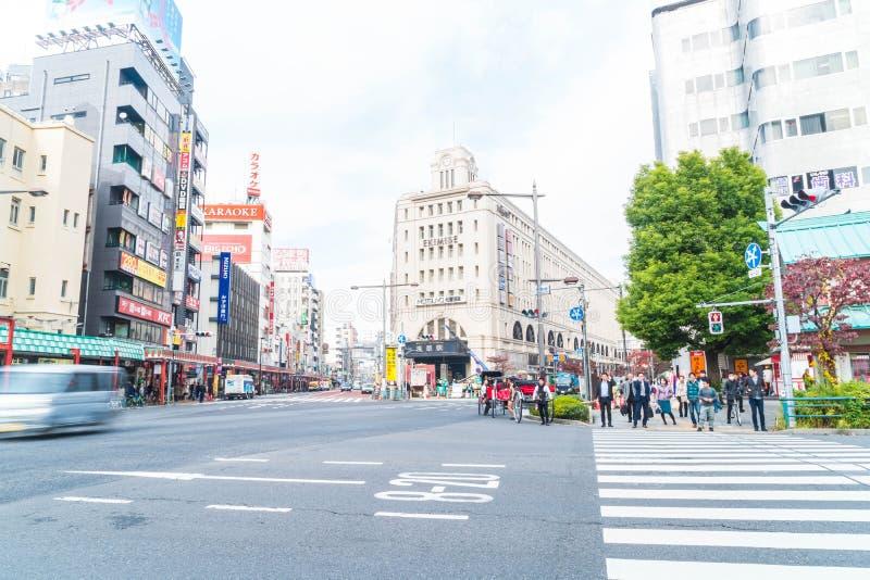 Tokio, Japón - 15 de noviembre de 2016: Ciudad de Asakusa por la mañana Asakus fotografía de archivo libre de regalías