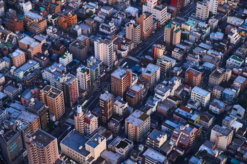 Tokio, Japón 08 29 2017: opinión de la ciudad de la torre del árbol del cielo foto de archivo