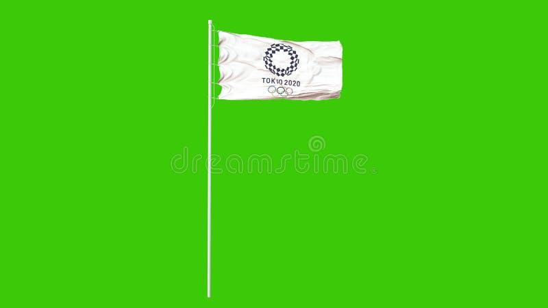 TOKIO, JAPAN, DEZEMBER 2019: Flagge der olympischen Spiele in Tokio 2020 flattern im Wind Grüner Bildschirm 3D-Abbildung stock abbildung