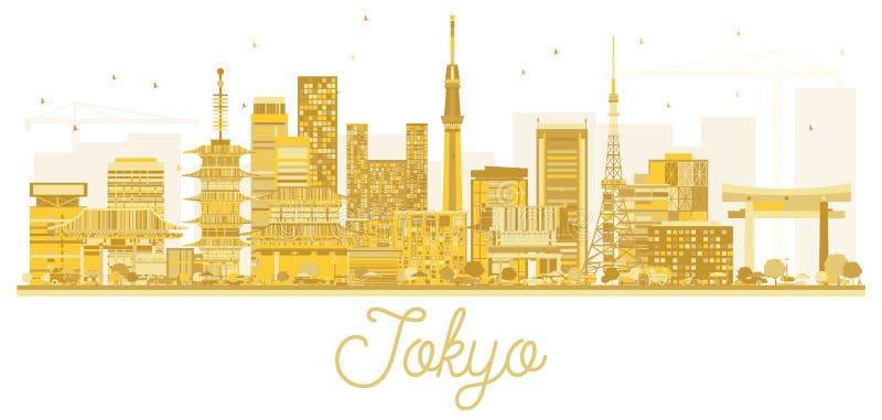 Tokio Japonia miasta linii horyzontu Złota sylwetka ilustracja wektor