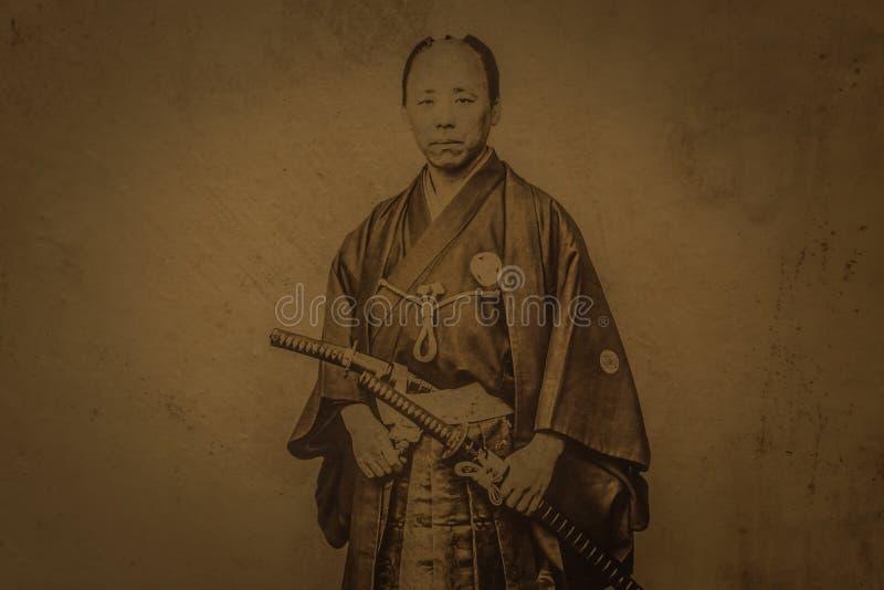 Tokio - 21. Mai 2019: Samurai-Portrait im Tokioter Nationalmuseum in Tokio, Japan stockfotografie