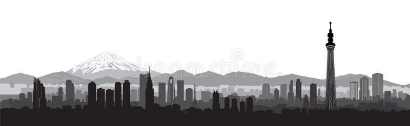 Tokio miasta linii horyzontu widok Podróży Japonia krajobrazu tło royalty ilustracja