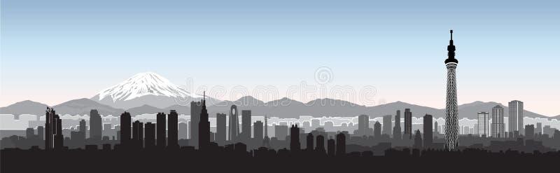 Tokio miasta linii horyzontu widok Podróży Japonia tło ilustracja wektor