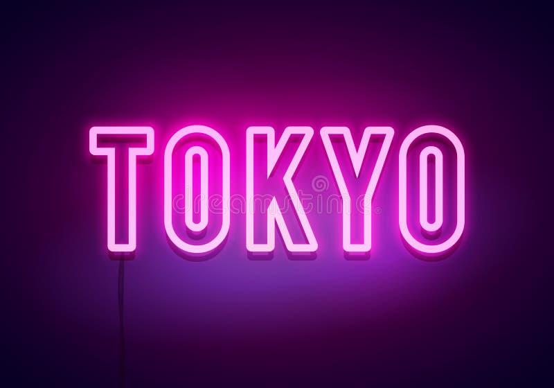 Tokio neonowy znak Jaskrawy lekki signboard sztandaru eps10 kartoteka ablegruj?cy wektor royalty ilustracja