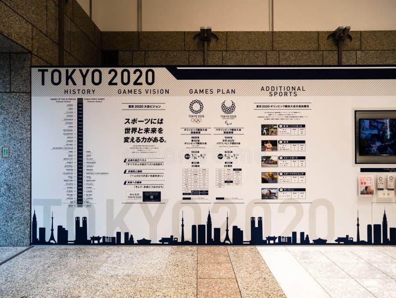Tokio Olimpijski i Paralympic 2020 gier powystawowych przy Tokio Metr zdjęcia royalty free