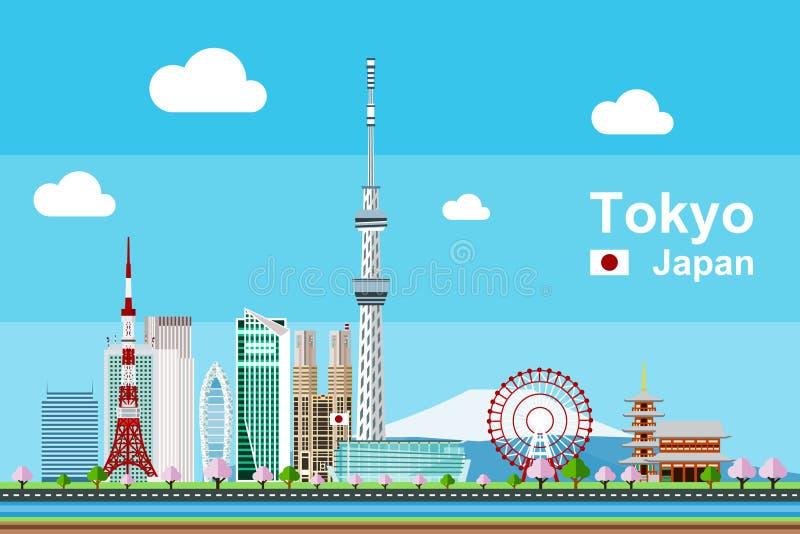 Tokio pejzaż miejski royalty ilustracja