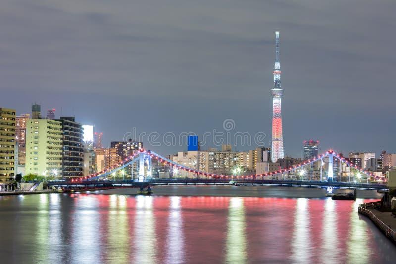 Tokio skytree noc obraz stock