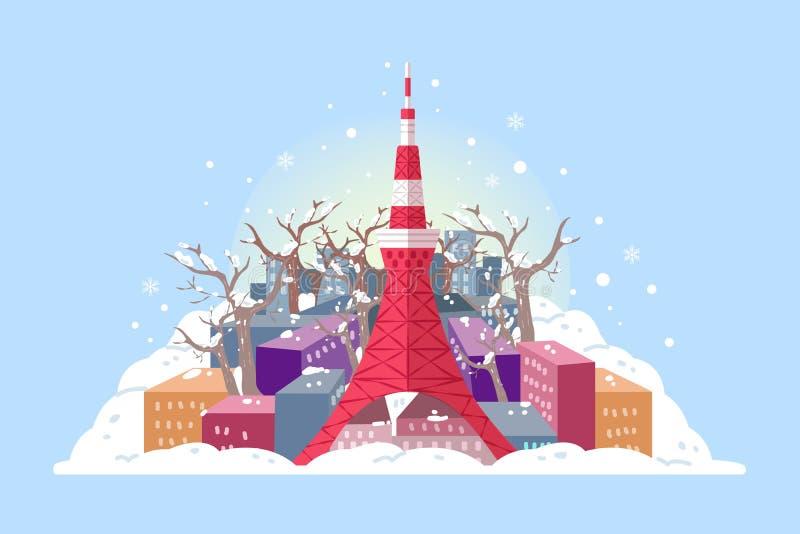 Tokio wierza w zimie ilustracja wektor