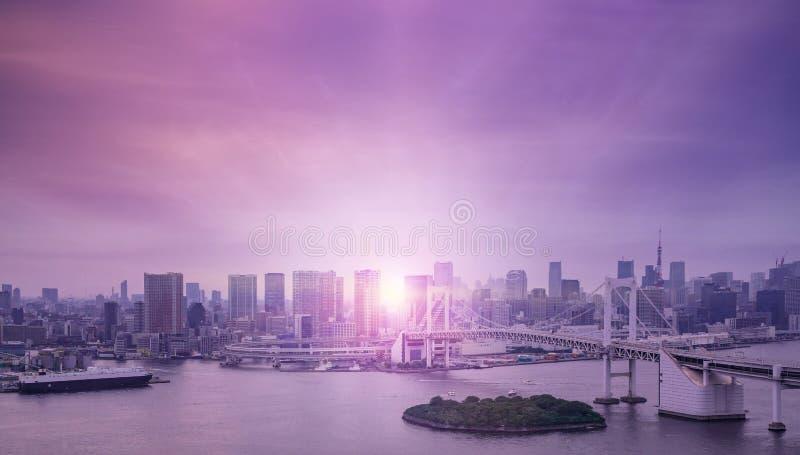 Tokio zatoka i t?cza most zdjęcie royalty free
