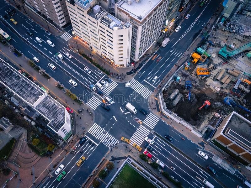 Tokyo from above. Crossroad seen from above in downtown Tokyo royalty free stock image