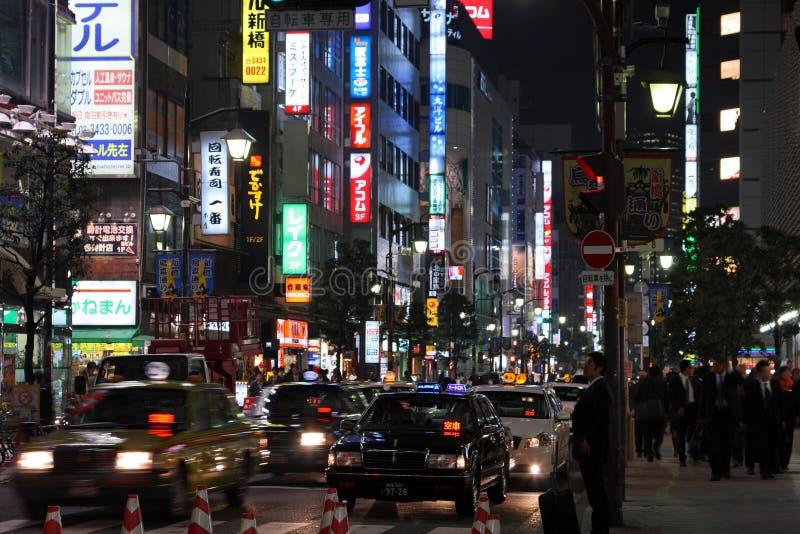 Tokyo bij Nacht stock afbeelding