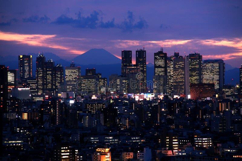Tokyo bij Zonsondergang stock afbeelding