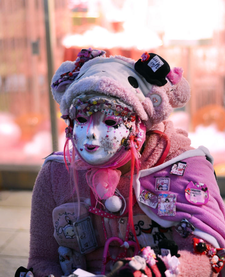 TOKYO - CIRCA NOV 24: Unidentified Japanese girl in Cosplay outfit poses for photo in Harajuku fashion area stock photos
