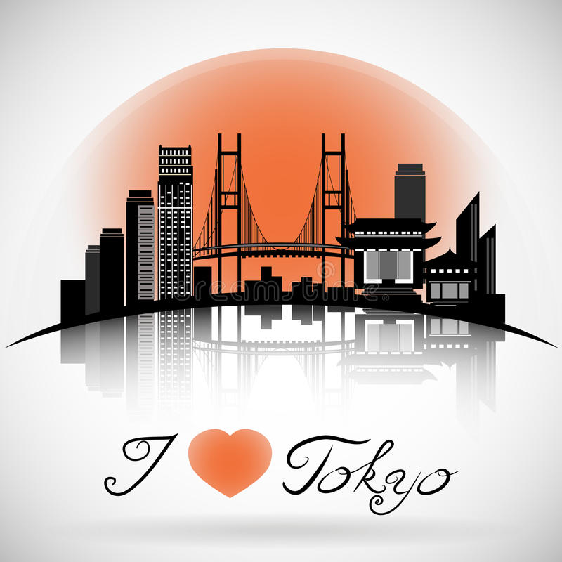 Tokyo city skyline with reflection. Typographic Design. Tokyo city skyline design. Japan vector illustration