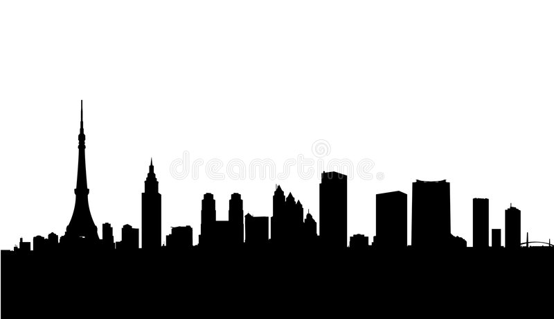 Tokyo city skyline vector. Vector illustration as silhouette of japanese capital tokyo with most famous landmarks as skyscrapers, tokyo tower and bay bridge
