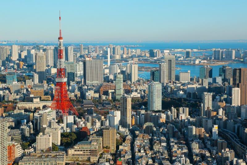 Tokyo Cityscape med det Tokyo tornet, Japan arkivbilder