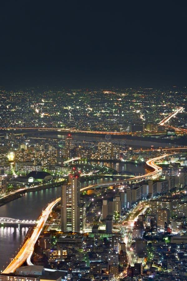 Tokyo cityscape på natten arkivbild